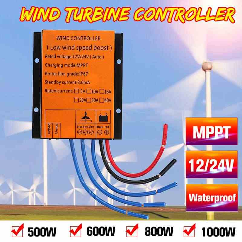 MPPT Wind Turbines Generator Charge Controller 500/600/800/1000W 12/24V Auto MPPT Waterproof LED Overvoltage Speed Protection