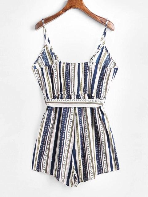 ZAFUL Striped Cami Wide Leg Rompers Womens Jumpsuit Ethnic Spaghetti Strap Sleeveless Sexy Bodysuit Streetwear Women Clothes 5