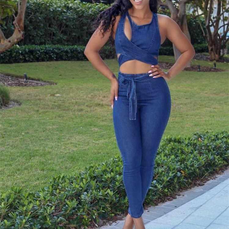 2019 летние новые джинсовые комбинезоны без рукавов с высокой талией, обтягивающие сексуальные Дырчатые джинсы, комбинезон с поясом, повседневные Комбинезоны