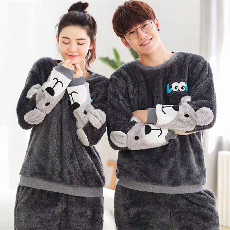 Pajamas-Set Sleepwear Couples Flannel-Pattern Winter Home Cute for Women Plush-Fabric