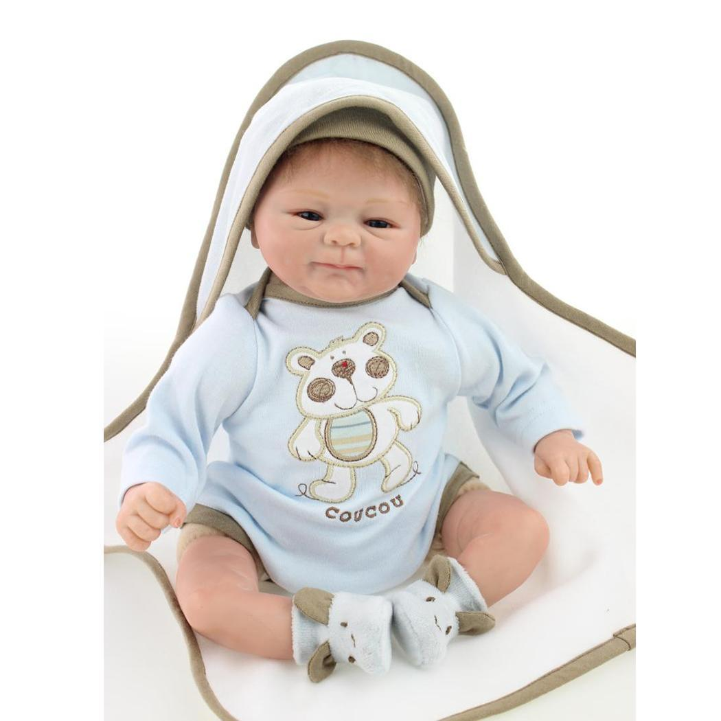 Kids Soft Silicone Realistic With Clothes Reborn Baby Doll Collectibles Gift Playmate Unisex 2 4Years Opened Eyes BlueKids Soft Silicone Realistic With Clothes Reborn Baby Doll Collectibles Gift Playmate Unisex 2 4Years Opened Eyes Blue