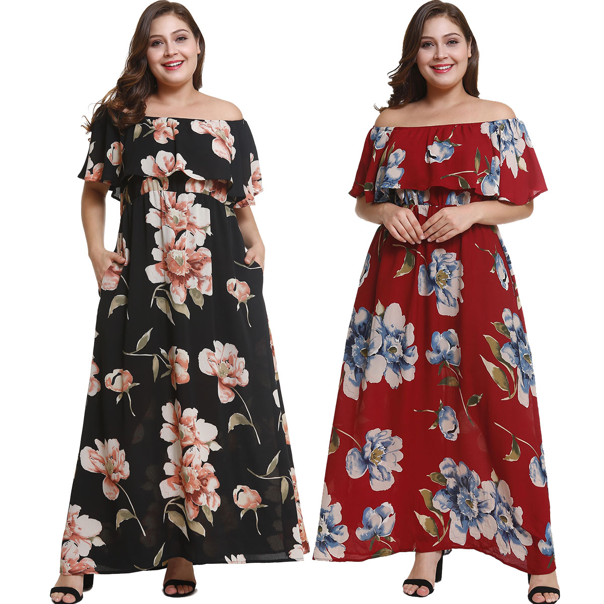 US $15.74 48% OFF|Wipalo Plus Size Floral Ruffled Print Maxi Dress Women  Bohemian Off Shoulder Short Sleeve Summer Dresses Women Clothing  Vestidos-in ...