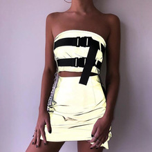 2 Pcs Set Womens Sexy Reflective Nightclub Tube Elastic Top Straps + Zipper Fly Waist Skirt