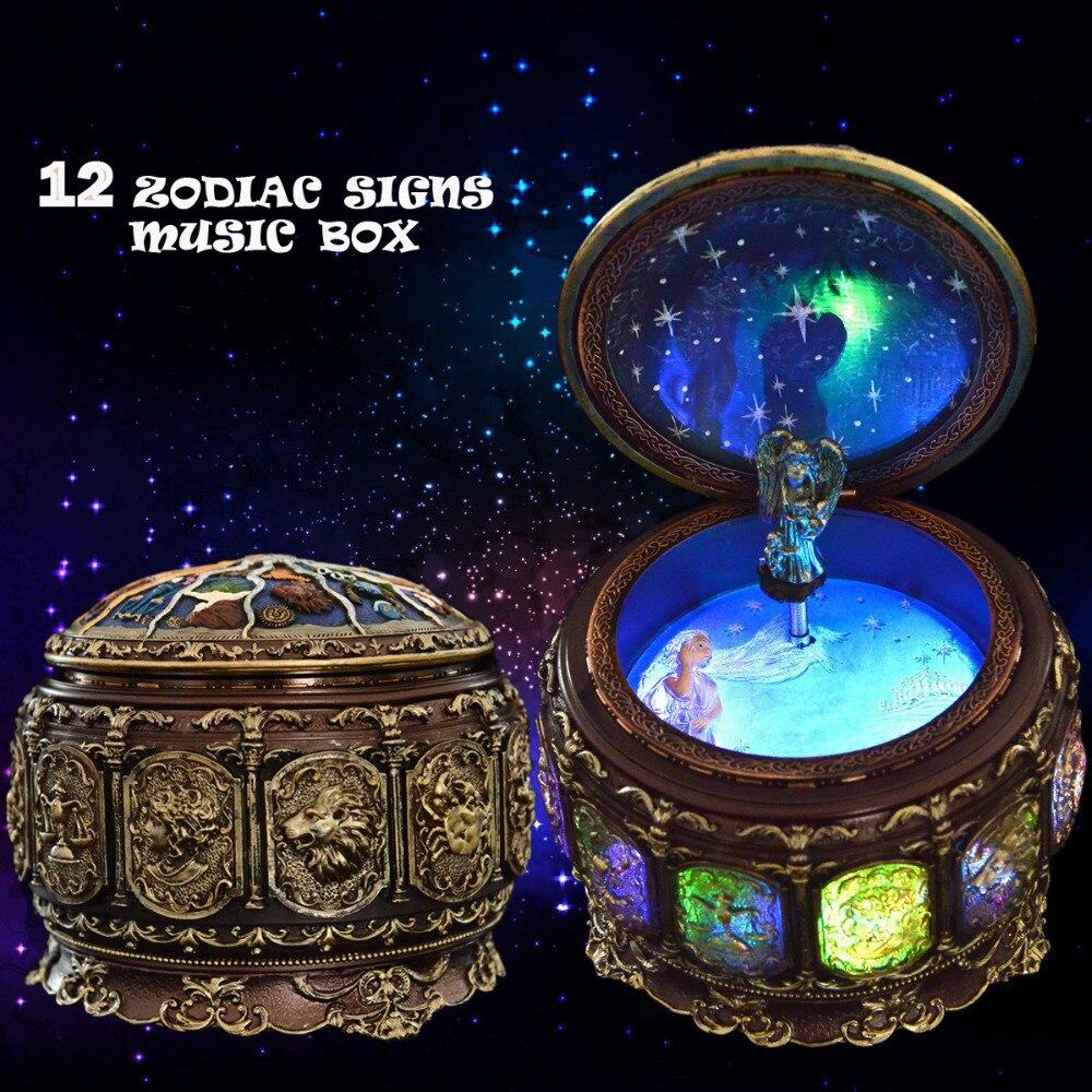 Signes du zodiaque rétro boîte à musique manuelle Arts 12 boîtes à musique Constellation avec lampes de poche LED cadeau d'anniversaire de saint valentin