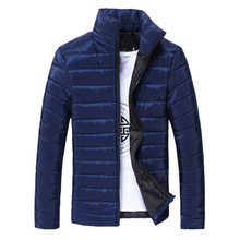 купить New Men Parka Cotton Padded Winter Jacket Coat Men Solid color Stand Collar Zipper Thick Coat Men Down Parka по цене 594 рублей