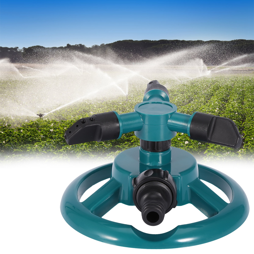 Garden Sprinklers Automatic Watering Grass Lawn 360 Degree Fully 3 Nozzle Circle Rotating Irrigation System