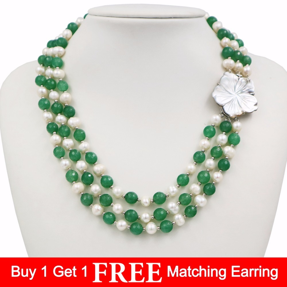 LiiJi Unique New Fashion Natural Freshwater Pearl 3 Rows 7-8mm White Pearl Green Agates Necklace Shell Flower Clasp 18''/45cm classical malachite green round shell simulated pearl abacus crystal 7 rows necklace earrings women ceremony jewelry set b1303