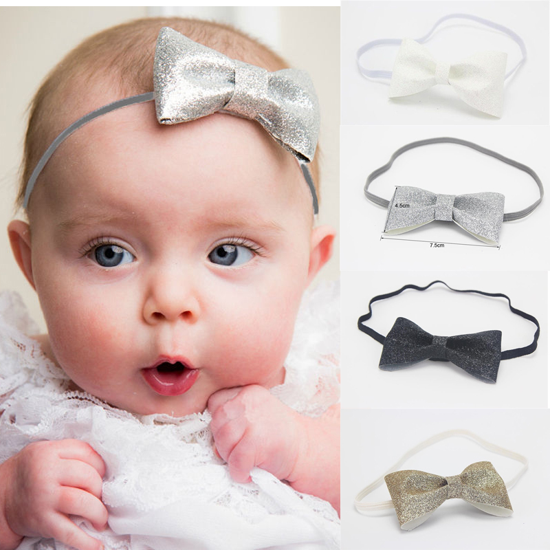 2019 New Newborn Baby Girl's Kids Glitter Bow Hair Band Infant Princess Headband Photography Props Shining