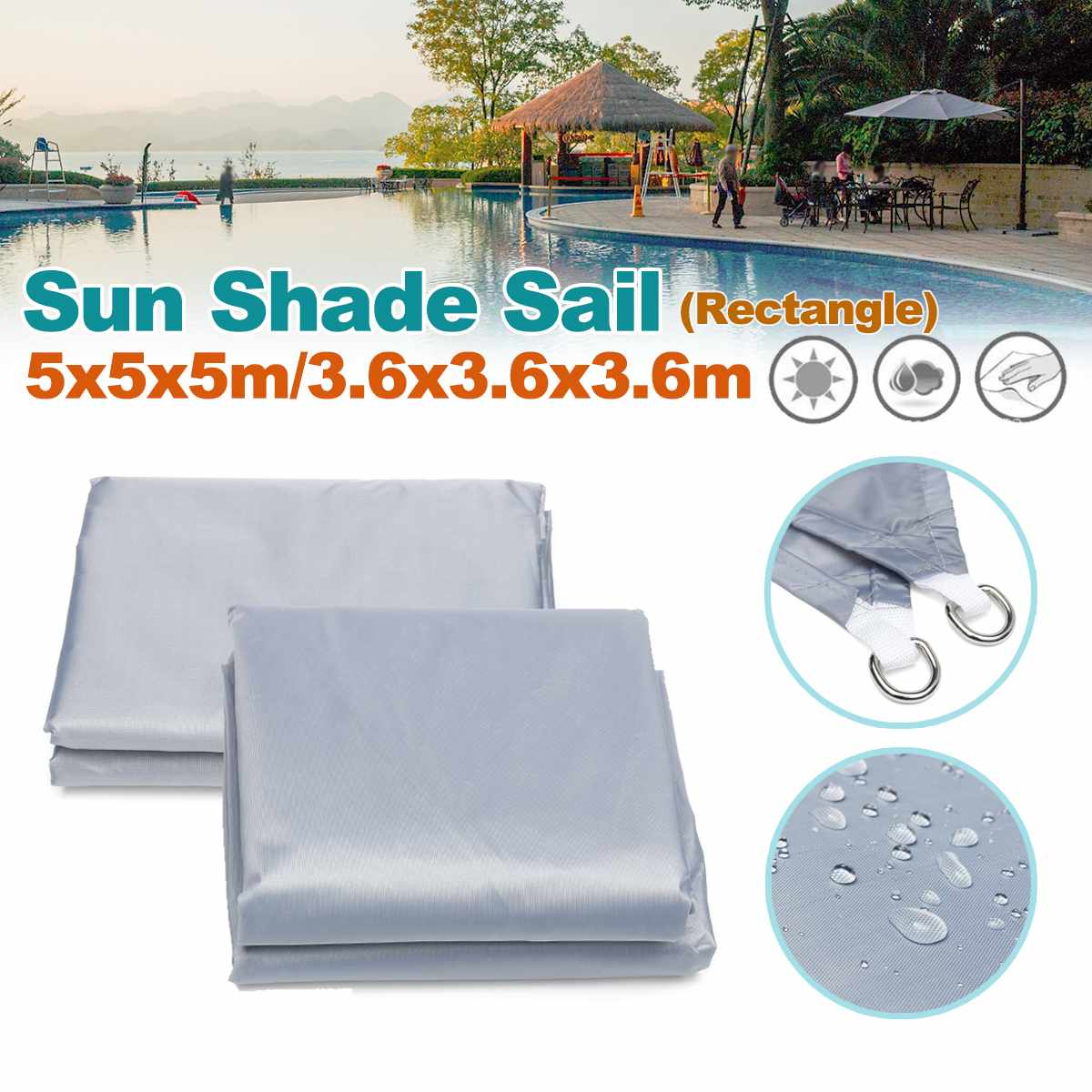 3.6m/5m Triangle Waterproof Sun Shield Shape Awning Cover Cap Outdoor Garden Shade