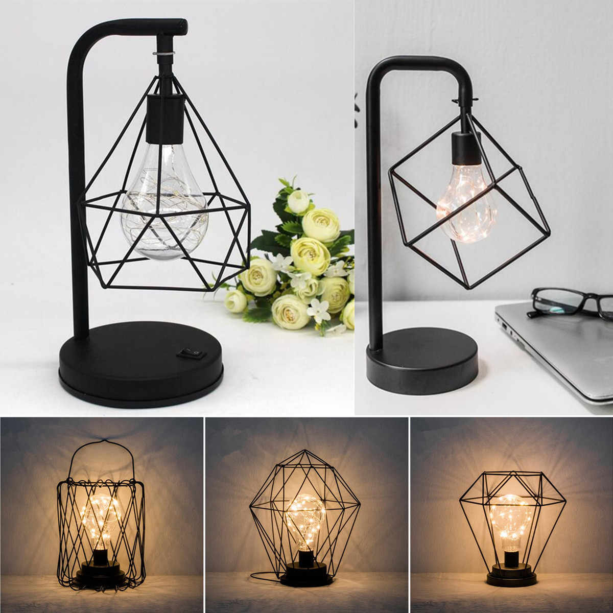 Marble Base Shade Copper Geometric Light Modern Industrial Curved Table Lamp Indoor Lighting Bedroom Diamond Table Lights Table Lamps Aliexpress