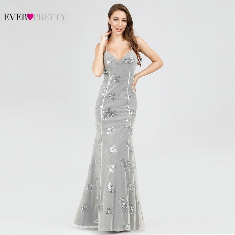 New Sexy   Bridesmaid     Dresses   Long Ever Pretty Deep V-Neck Backless Mermaid Spaghetti Straps Elegant Wedding Guests   Dresses   2019