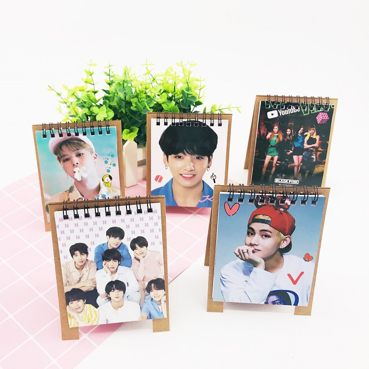 1pcs New Kpop Bts Love Yourself 2019 Mini Desktop Calendar Jungkook V Photo Picture Army Gift Orders Are Welcome. Office & School Supplies