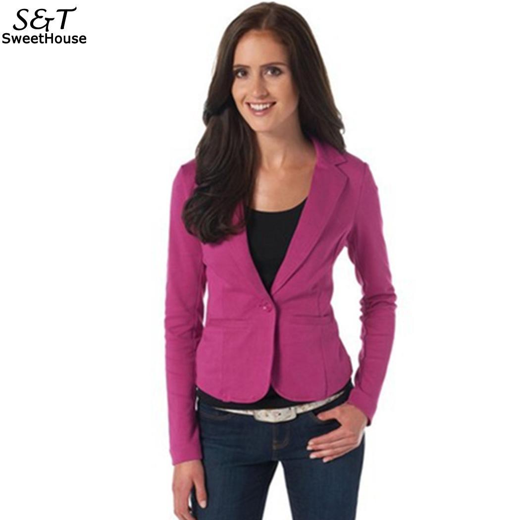 Sleeve Autumn Regular Single Spring Button Fashion Casual Women Long Collar Notch Business Solid Blazer Pockets