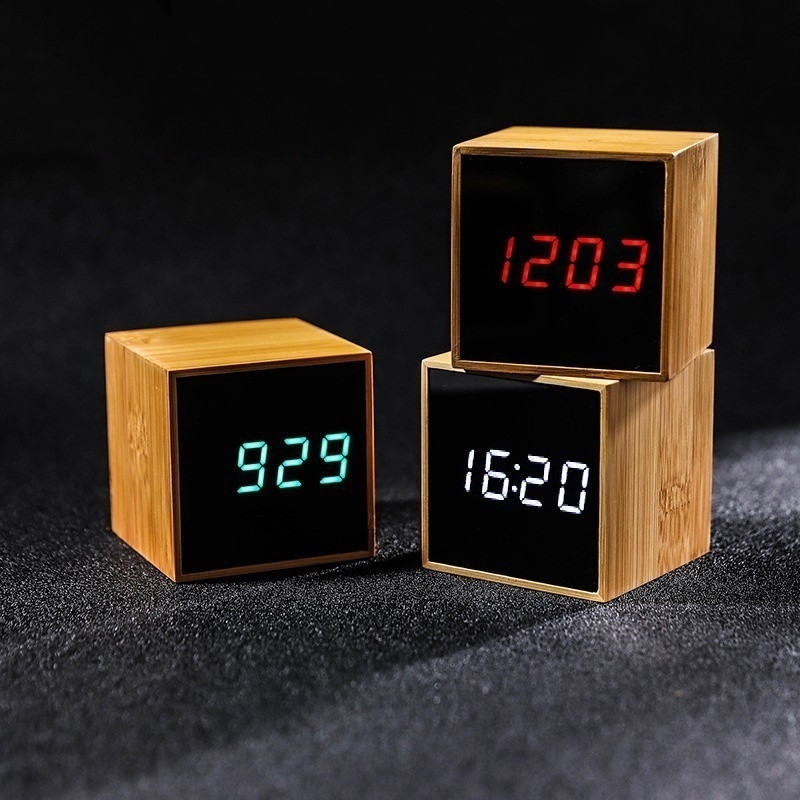 100 Bamboo LED Alarm Clocks Temperature Electronic Clock Sounds Control Wooden Table Clock Adjustable Brightness Snooze