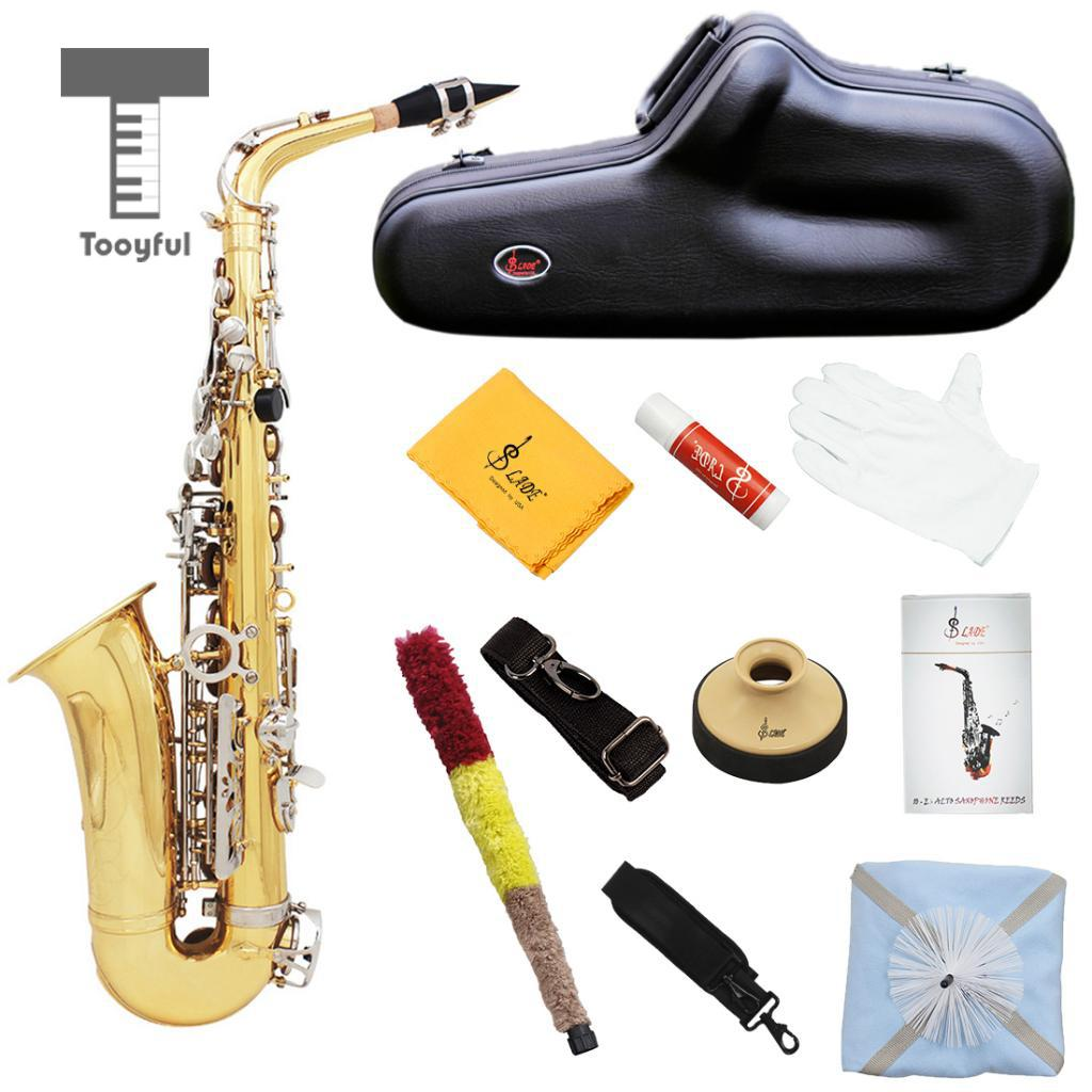 Alto Eb Sax Saxophone Gold Laquer Finish with Reeds Straps Mute Hard Case for Beginner Students брюки rinascimento rinascimento ri005ewankq7