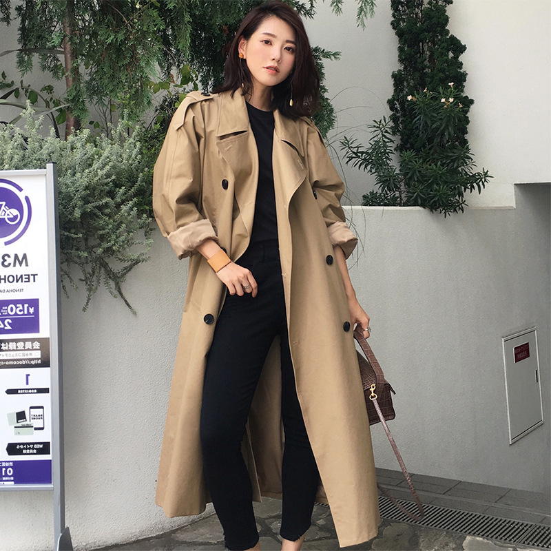 Army Green   Trench   Coat 2020 New Long Outerwear Woman England Windbreaker Thin Coat Lady All-match Loose Coat Ropa Mujer Invierno