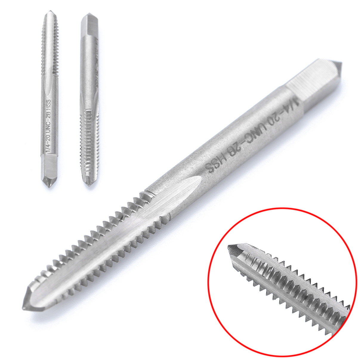 High Hardness Screw Thread 1/4-20 UNC-2B HSS Right Hand Thread Drill Screw Tap Spiral Point Straight Flute Tapping Tool