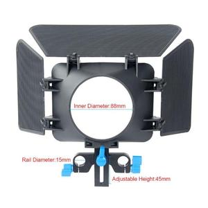 Image 3 - ABS di Alluminio 85 millimetri 3 Lame Della Macchina Fotografica Matte Box Lens Hood Seguire Messa A Fuoco Regolabile in Altezza Per 15 millimetri di Scorrimento DSLR macchina fotografica 200g