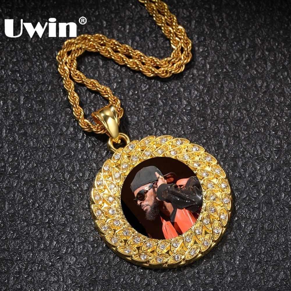 UWIN moda na zamówienie zdjęcie wisiorek naszyjnik złoty kolor pełny mrożona z dżetów okrągły Tag Hiphop biżuteria prezenty