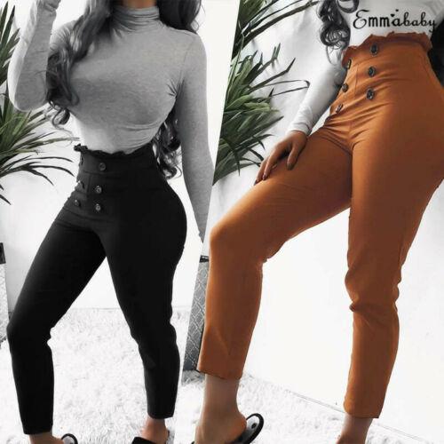 Fashion Women's Ladies High Waist Casual Button Elastic Solid Ankle Length Pants Ladies Pencil Pants 2019 New
