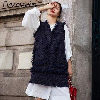 винтажные женские жилеты с V образным вырезом без рукавов длинный