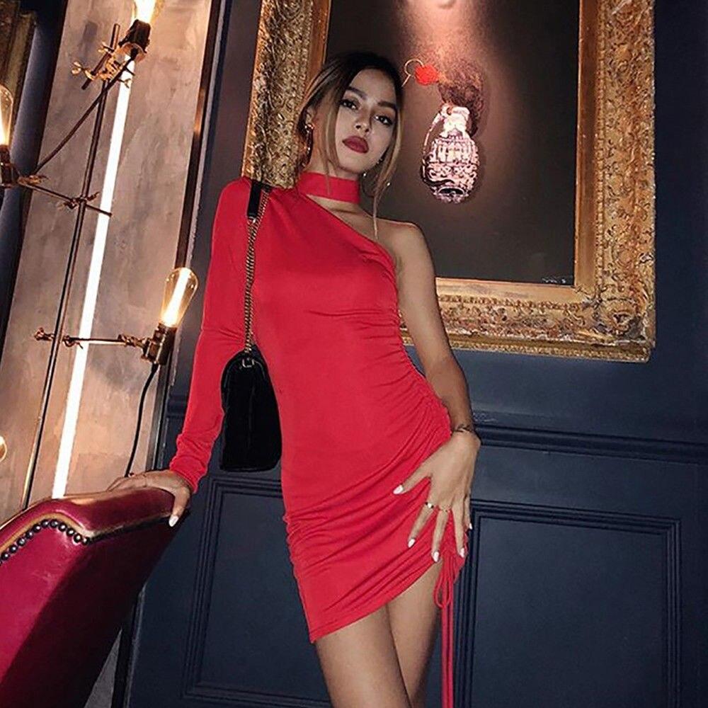 Новое поступление сексуальное женское облегающее на одно плечо мини-платье женские короткое платье для вечеринки платья с длинным рукавом ...