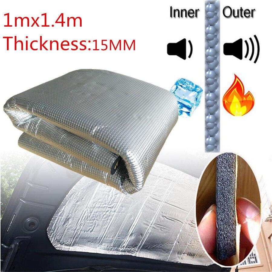 Caoutchouc de mousse de tapis insonorisant et de barrière thermique de voiture épaissi de 15mm 1*1.4 M avec l'amortisseur de bruit de route de feuille d'aluminium auto-adhésif