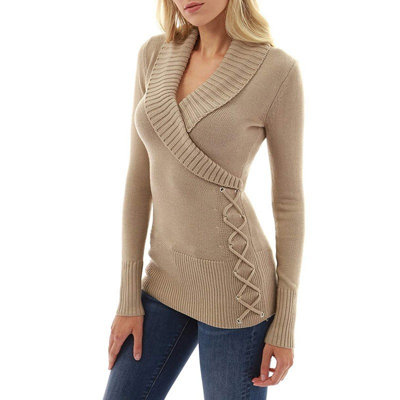 Dropshipping Women's Shawl Collar Lace Up Sweater Fashion