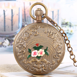 Vintage Flowers Design Double Hunter Pure Copper Mechanical Pocket Watch Tourbillon Self Winding Clock with 30 cm Chain Luxury