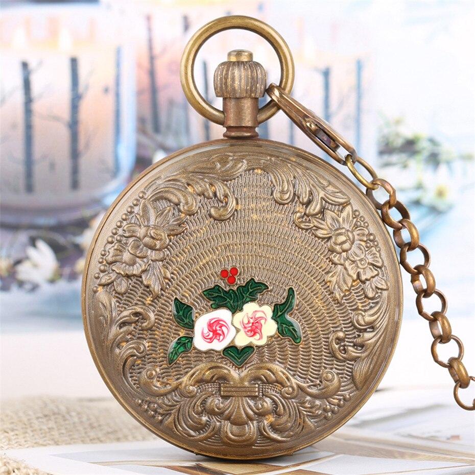 Vintage fleurs conception Double chasseur pur cuivre mécanique montre de poche Tourbillon horloge à remontage automatique avec 30 cm chaîne de luxe