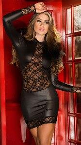 Image 2 - Mode Sexy dentelle noire Wetlook robe chaussures en faux cuir pour femmes gothique à manches longues moulante fétiche Clubwear Sexy danse Club robes