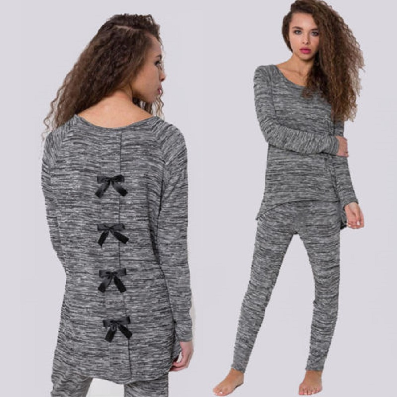 Womens Round Neck Winter Thermal Sets Top Pants Underwear Long Pajamas Sleepwear