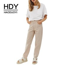 HDY Haoduoyi Femme Simple Summer Pure Color Tops Open Line Pocket Roll Sleeve Sheer White Easy Leisure Harajuku O-Neck T-shirt