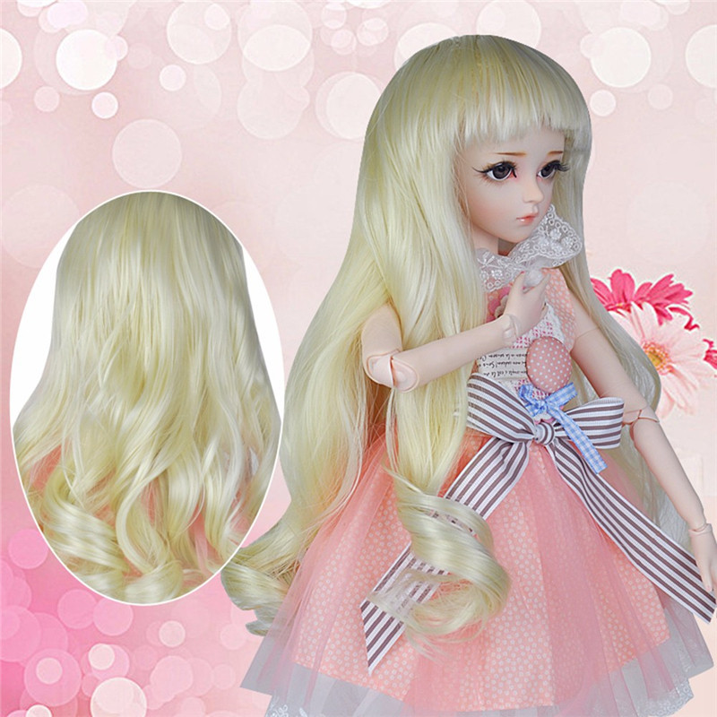 High Temperature Fiber Gold Long Straight <font><b>Wig</b></font> Pink Deep Spiral Curly Hair <font><b>Wigs</b></font> for 1/3 BJD <font><b>Dolls</b></font> <font><b>60cm</b></font> <font><b>Doll</b></font> Accessories image