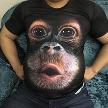 ZACOO Men Funny 3D Monkey Pattern Digital Printing Hip Hop Short Sleeve T-shirt