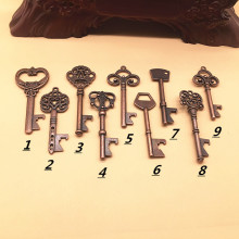 Free Shipping Retro Bottle Openers Key Shape Beer Wine Opener Keychain Ring Open Bar Drinking Accessories