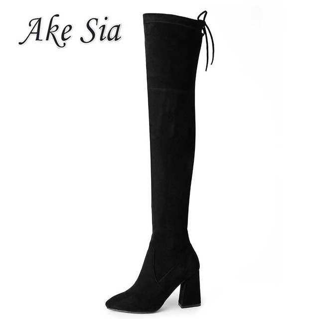 2019 new women's Over the knee pointed boots women's suede simple and comfortable sexy women's boots y094