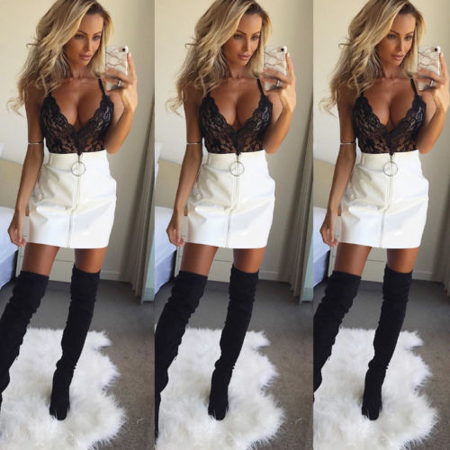 Hot Fashion Women's Skirts Ladies Casual High Waist PU Leather A-Line Skirts Bodycon Pencil Mini Short Skirt