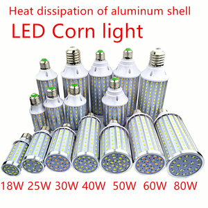 5730 LED Bulb Aluminum shell lamp 18W25W30W40W50W 60W 80W 85-265V E14 E26 E27 E39 E40 LED Corn light street lamp Cool Warm White(China)
