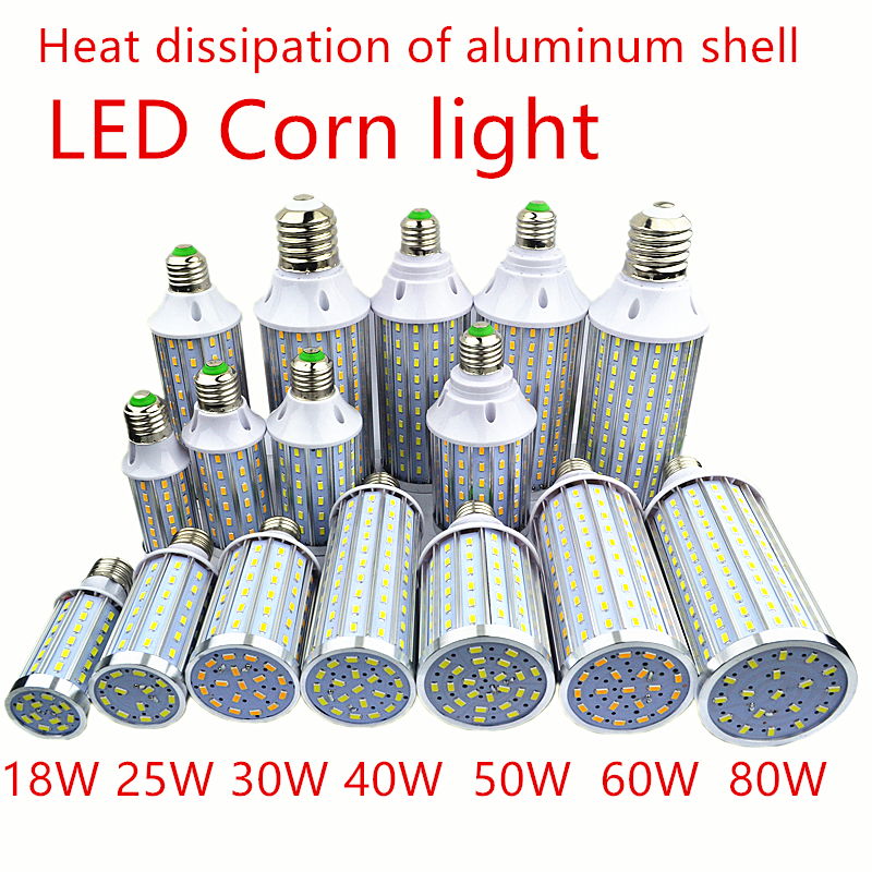 LED Bulb Aluminum shell lamp 18W25W30W40W50W 60W 80W 100W 220V E14 E26 E27 E39 E40 LED Corn light street lamp Cool Warm White
