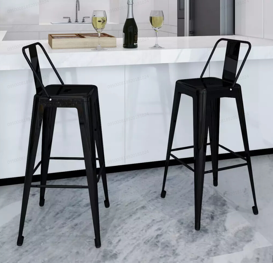 Superb Low Cost Vidaxl 2 Piece Bar Stool Set Square Black Steel Machost Co Dining Chair Design Ideas Machostcouk