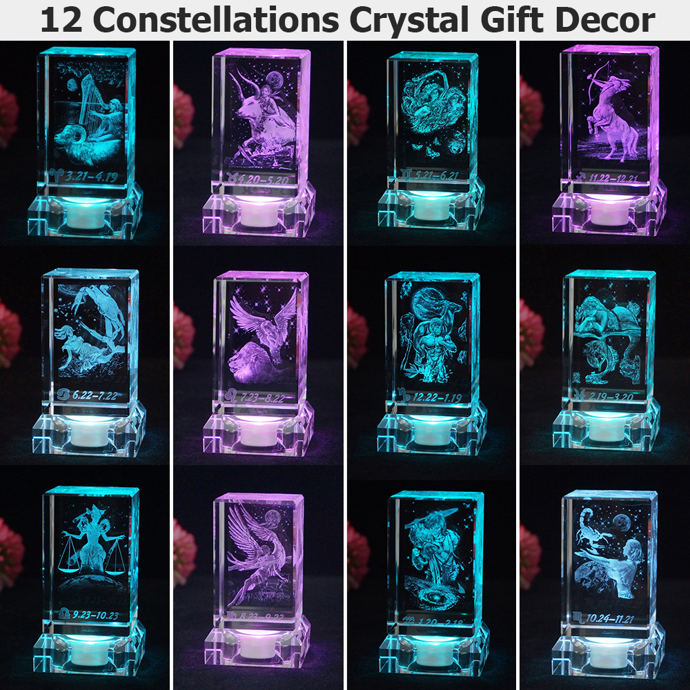 LED Night Light Hoom Decoration Rechargeable 12 Constellation Multicolor Lighting Lamp D25