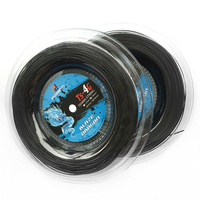 1 Reel Powerti 1.30mm/1.25mm Tennis String 4G Polyester Training Racket String 200m Reel Gym Sport Outdoor Black String