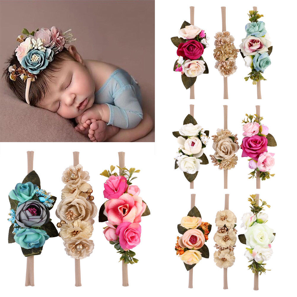 3pcs Set Toddler Kids Girl Baby Toddler Bow Flower Headband Hair Band Accessories Headwear Head Accessories