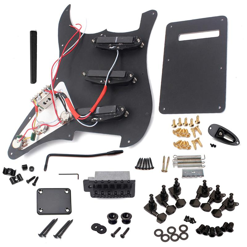 DIY Electric Guitar Kit Pickguard Back Cover Bridge System ST Style Full Accessories Kit For Guitar