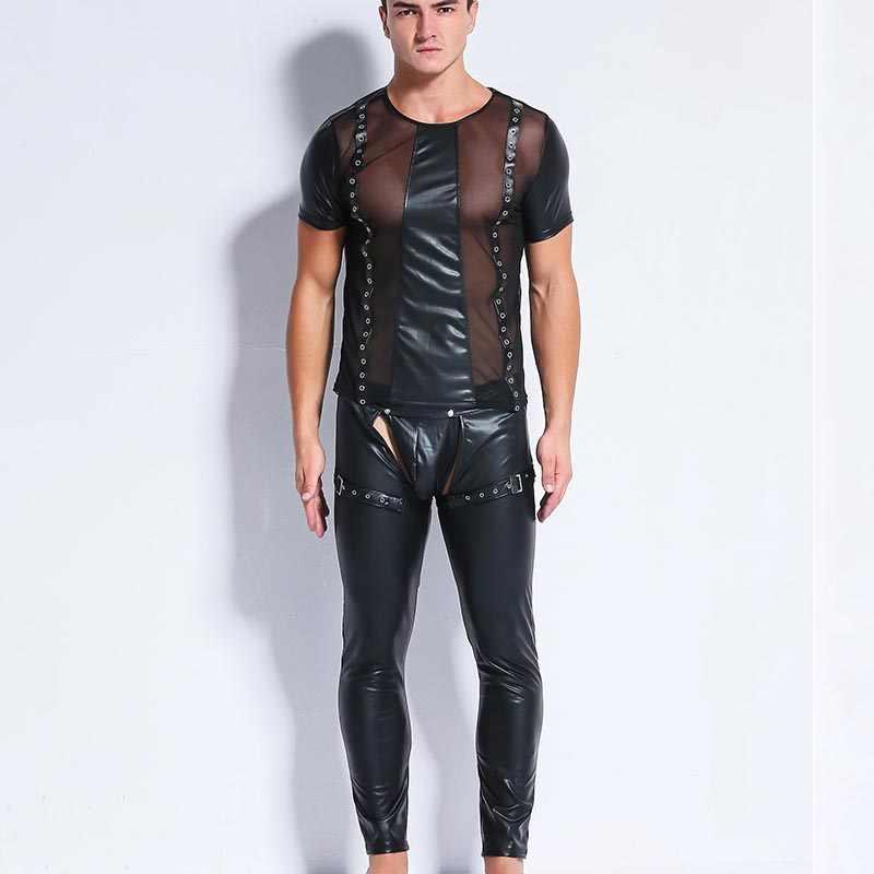 Aiiou Seksi Mens Kaus Dalam Mesh Transparan Jahitan Erotis Faux Kulit Gay Kemeja Lucu Kebugaran Kaus Dalam Klub Dansa Pakaian