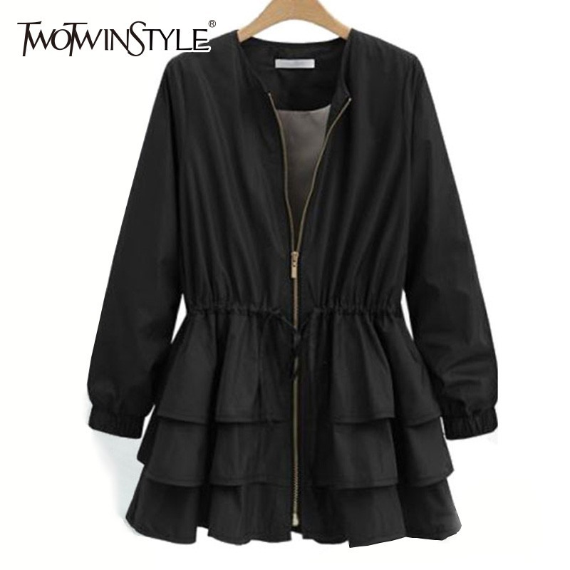 TWOTWINSTYLE 2019 Spring   Trench   Coat For Women's Windbreaker O Neck Long Sleeve Zipper Loose Plus Sizes Windbreakers Casual New