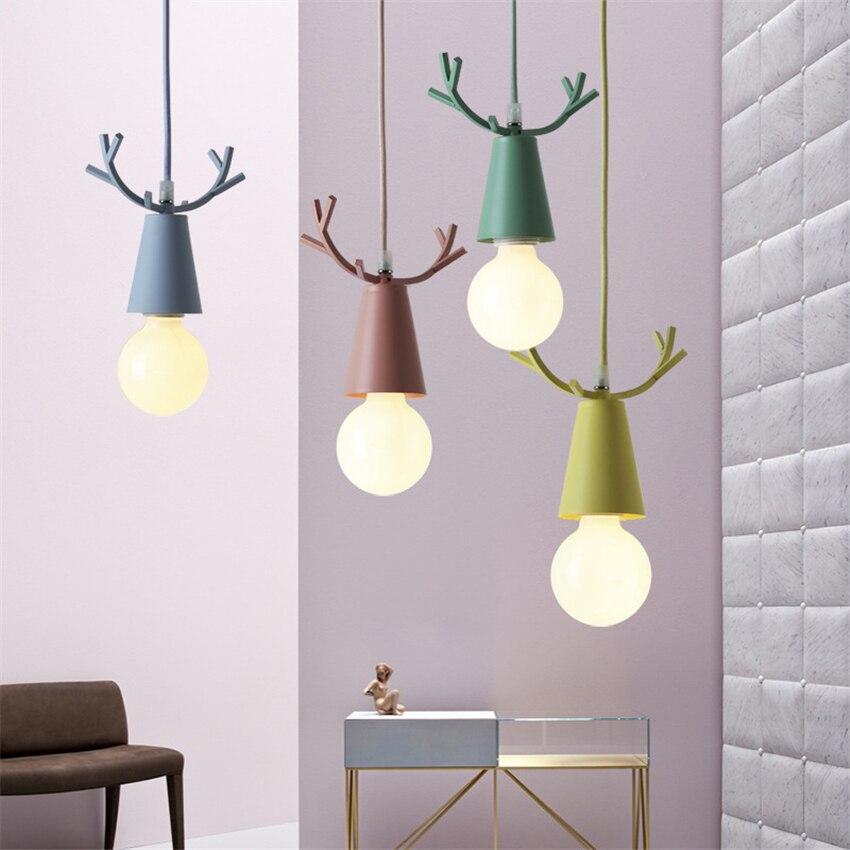 Modern Deer Pendant Lights Christmas Antlers Hanglamp E27 Led Hanging Lamps Childrens Room Bedroom Home Light Fixtures Decor