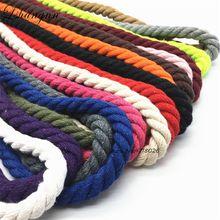 Хлопок 10 метров 3 акции витые шнуры хлопок 10 мм DIY Craft украшения из бечёвки хлопок шнур для мешок шнурок ремень 20 Цвета