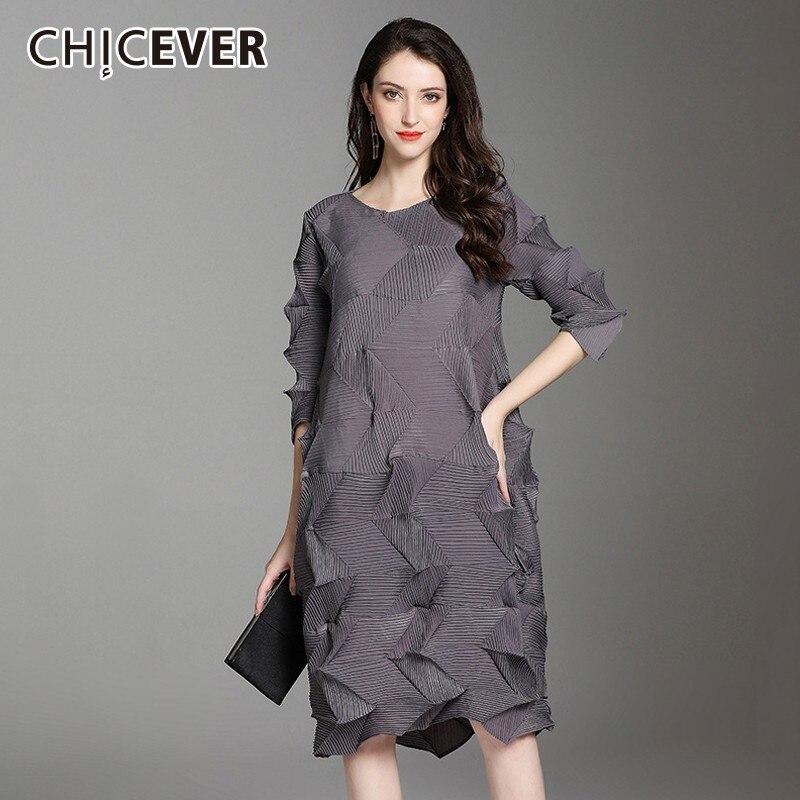 CHICEVER Autumn Dresses Of The Big Sizes O Neck Three Quarter Sleeve Loose Oversize Dress Female